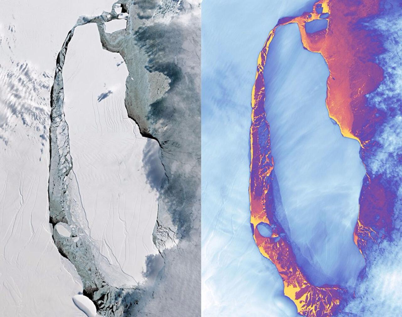 NASA обнародовало фотографии гигантского айсберга