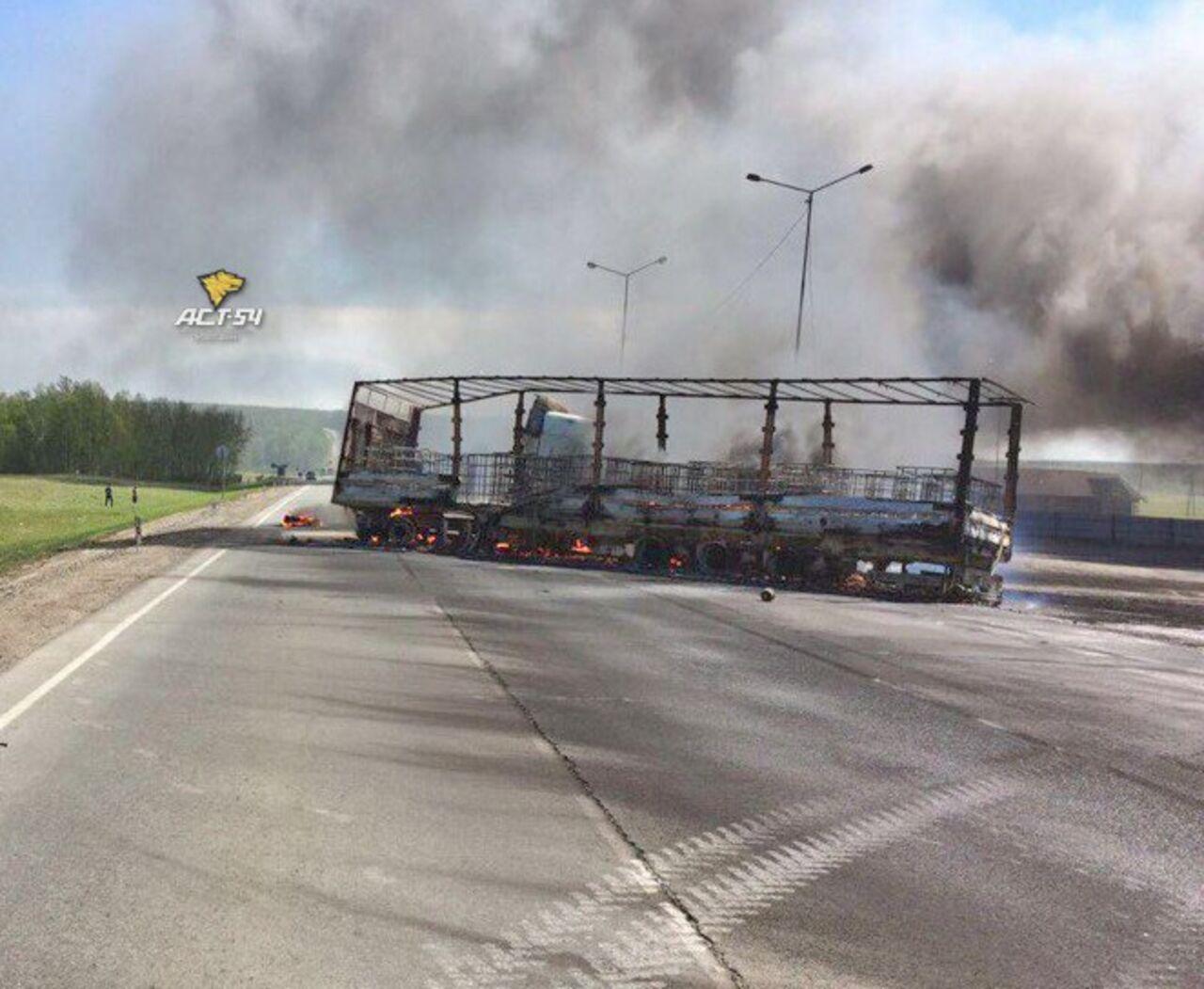 Пожар нафедеральной трассе вНовосибирской области локализован