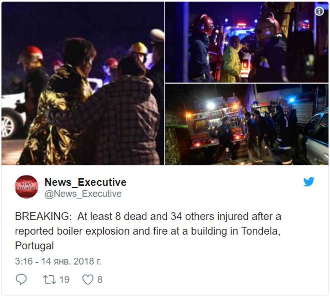 Впожаре насевере Португалии погибли восемь человек