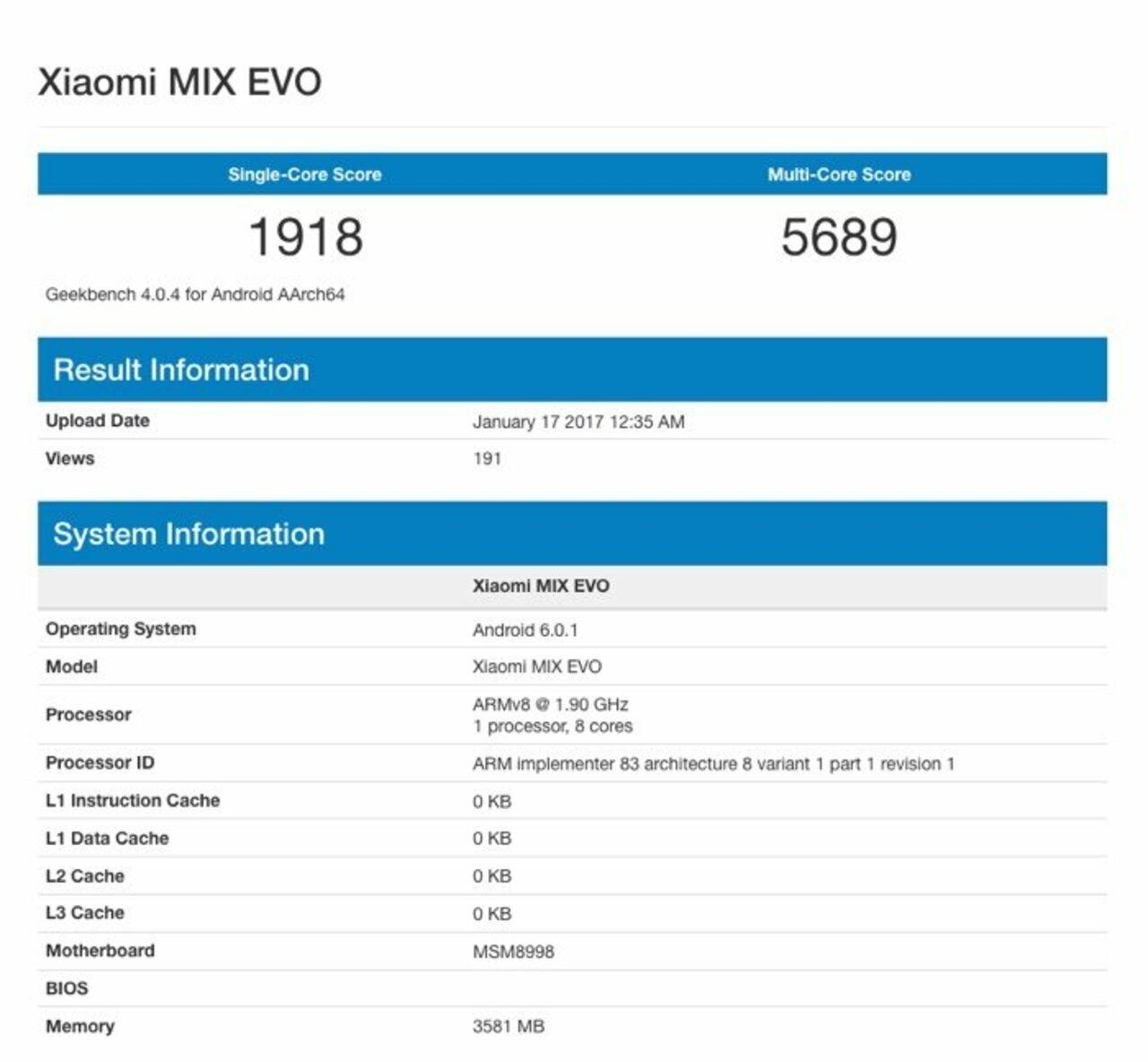 Xiaomi MiMix Evo появился вGeekbench