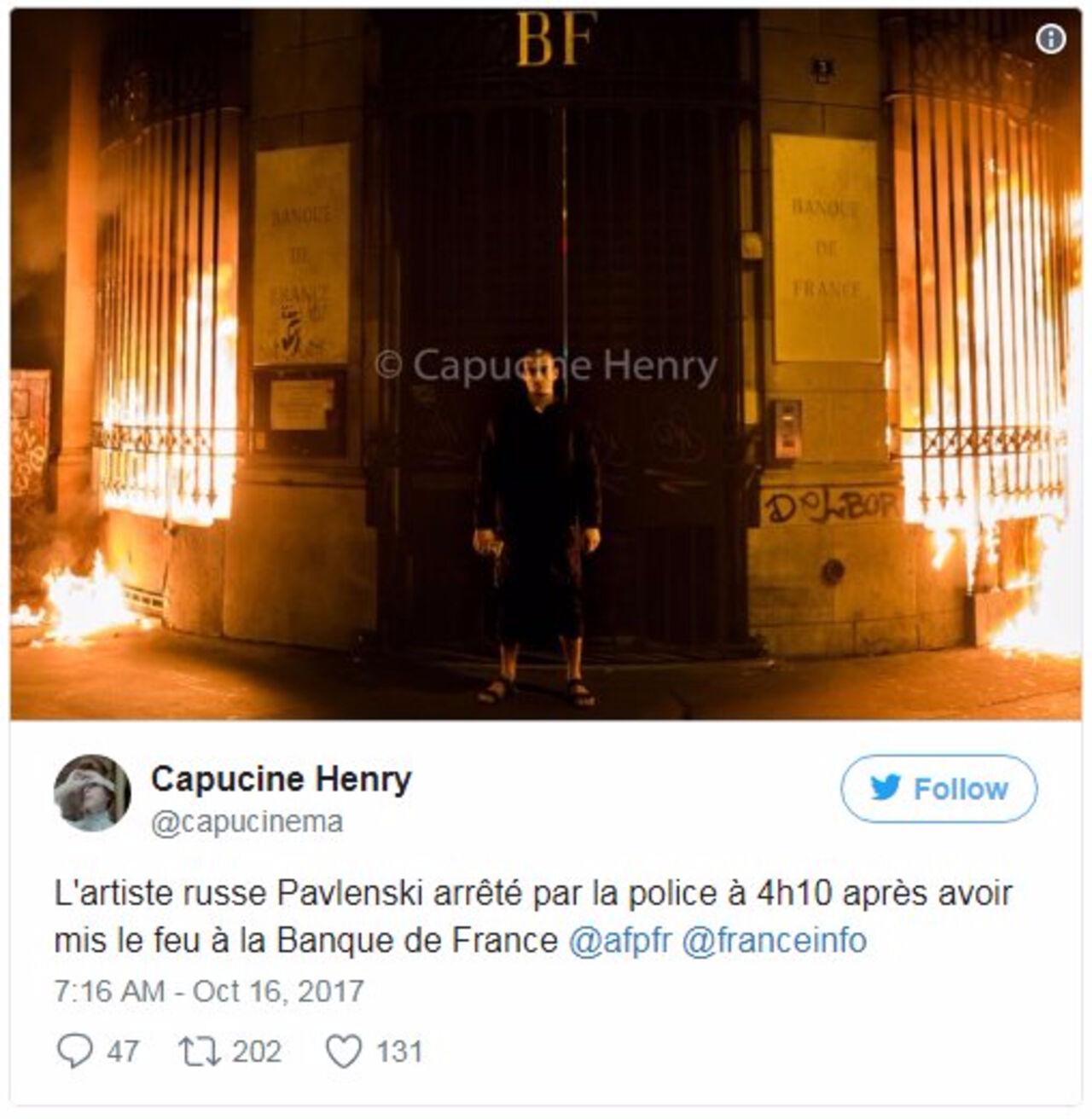 ВоФранции художника Павленского расположили  впсихбольницу