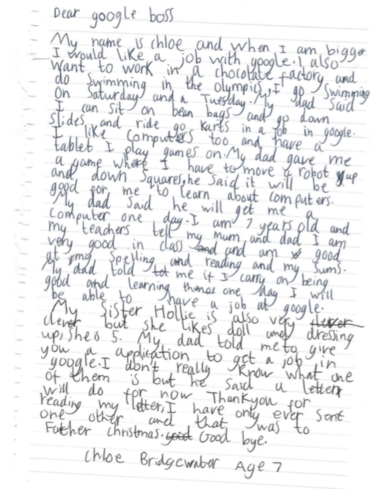 7-летняя девочка отправила свое резюме наработу вGoogle