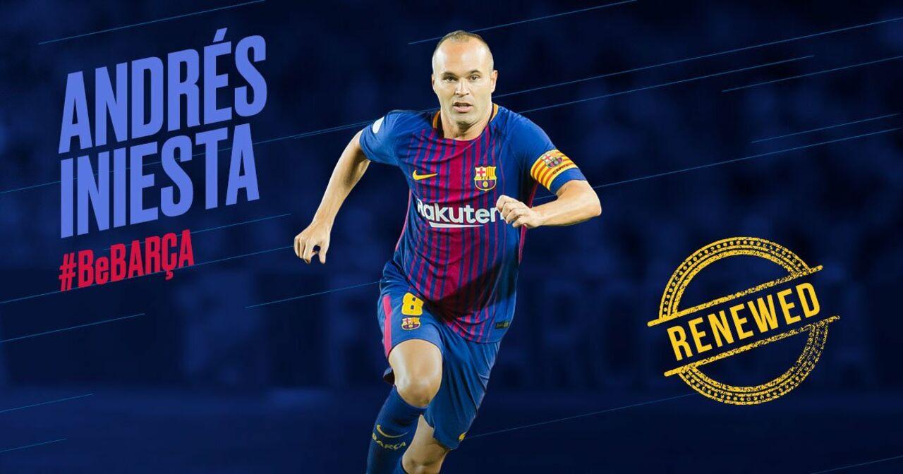 Иньеста подпишет с«Барселоной» договор  доконца карьеры