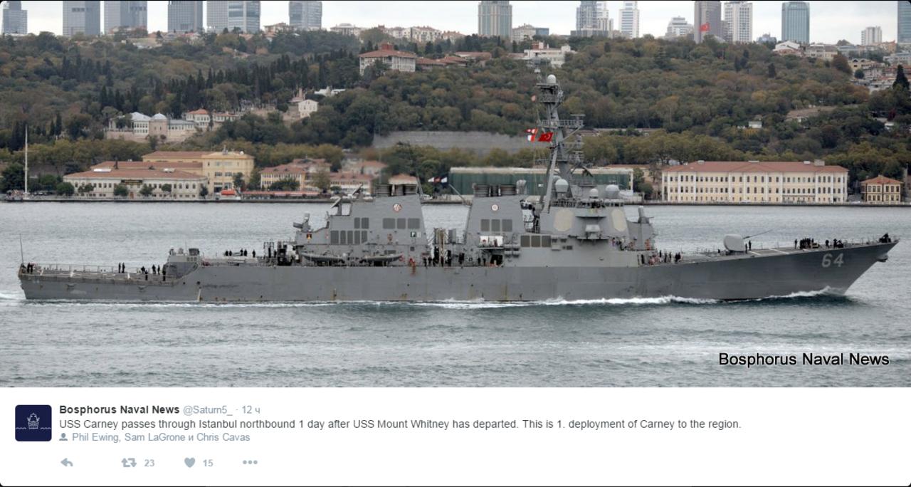 Американский эсминец Carney вошел вЧерное море