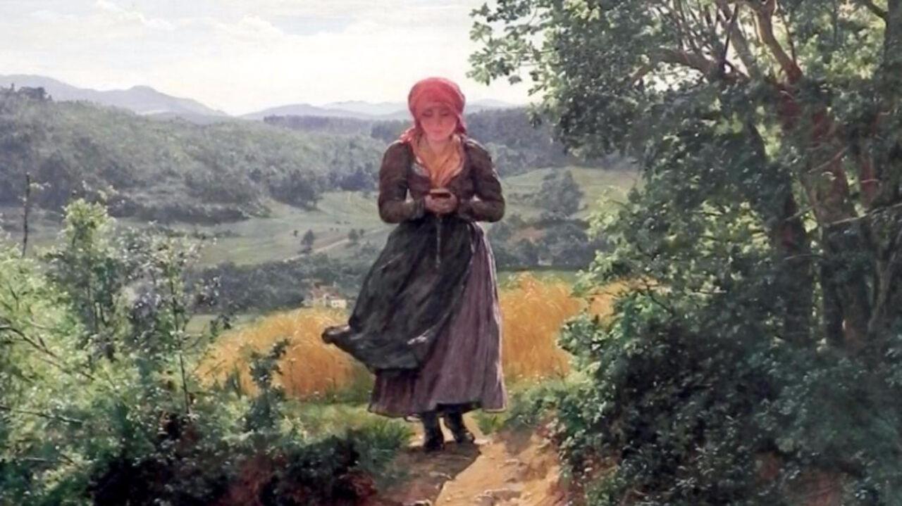 Накартине 1860 года увидели девушку сайфоном