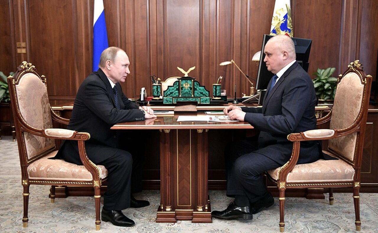Путин вчетверг встретится сврио губернатора Кемеровской области Цивилевым