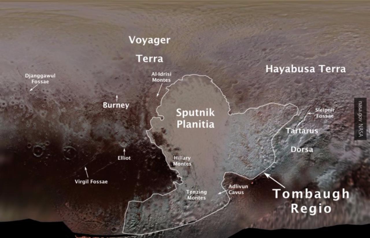 Равнину наПлутоне астрономы назвали вчесть первого спутника Земли