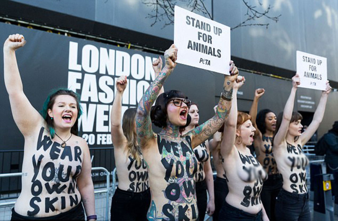 Активистки оголили грудь взащиту животных нанеделе моды встолице Англии