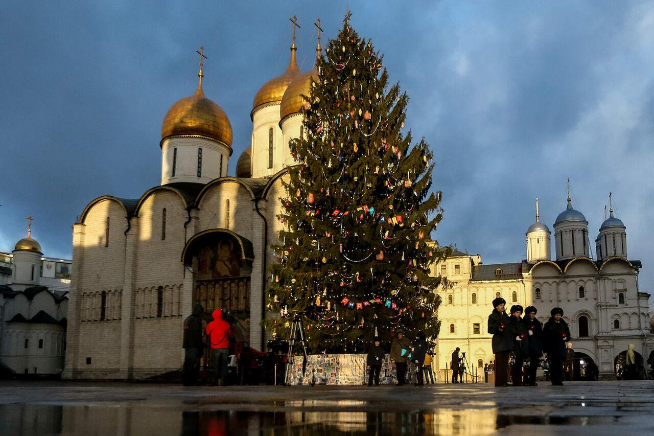Установка главной новогодней ёлки на Соборной площади Московского Кремля обойдётся бюджету примерно в шестьмиллионов рублей