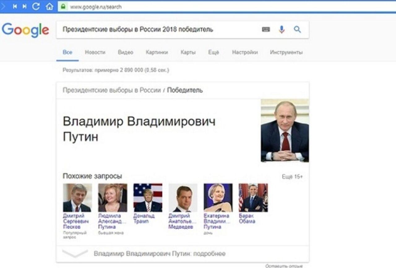 Google признал Владимира Путина победителем выборов