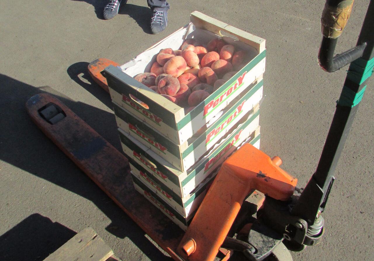 Партию санкционных испанских персиков сожгли нарынке вКемерове
