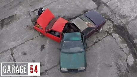 Новосибирцы покатались на«спиннере», который они сделали из 3-х машин