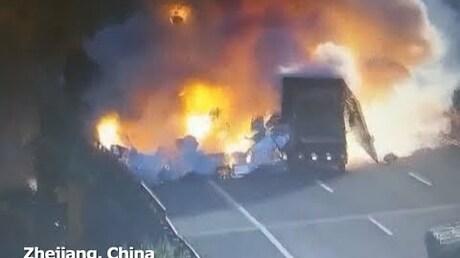 ДТП вКитайской народной республике привело кмощному взрыву
