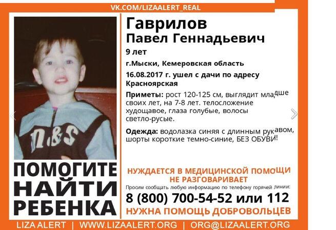 ВКемеровской области нашли пропавшего 9-летнего мальчика